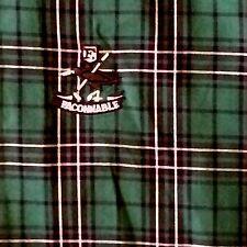 FACONNABLE L Mens Plaid Casual Shirt Dark Green Button Collar 100% Cotton France
