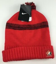 Team Canada Hockey Toque Beanie Hat Nike Cap Red Pom