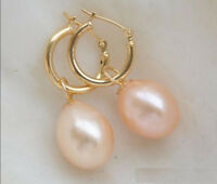 Beautifully 8-9mm rice type South Sea Pink Pearl Earrings 14K Gold JE173