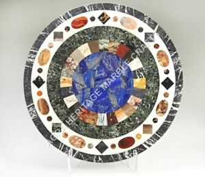 "30"" Marble Coffee Cafe Table Top Mosaic Design Lapis Inlay Bedroom Decor H4973"
