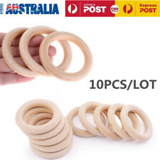 10pcs 55mm Crafts Baby Teething Natural Wooden Rings Necklace Bracelet Jewellery