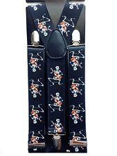 Unisex Halloween Skull Clip-on Wide Suspenders Elastic Y-Shape Adjustable Braces