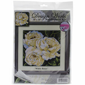 """Design Works Needlepoint Kit 10""""X10""""-White Roses-Stitched In Yarn -DW2515"""