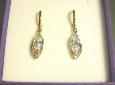 F10 White marquise sapphires 18K gold gf huggie hoop +dangle drop earrings BOXED