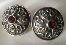 JUDITH JACK Estate, Vintage Garnet & Marcasite Sterling Silver Earrings