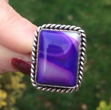 LARGE PURPLE BOTSWANA AGATE RING SILVER HANDMADE GIFT GOTH HEALING SIZE R US 8.5