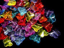 50 Pcs -  14mm Acrylic Butterfly Beads Mix Colour Pendants Craft Beading D31