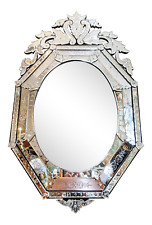 Large Superb Antique Made In France Beveled & Etched Glass Venetian Mirror