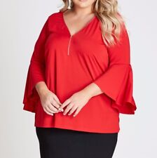 Plus Size Autograph Flute Sleeve- Zip Front Poppy Red Colour Size 26 Free Post