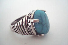 Aged Silver Tone Blue Cracked 'Stone' Statement Ring Size P