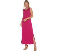 Susan Graver Regular Liquid Knit Maxi Dress w/ Macrame Detail, English Rose, XL