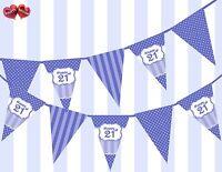 Brilliant Blue Happy 21st Birthday Vintage Polka Dots Theme Bunting Banner Party