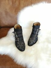 **CHLOÉ** Black Nubuck Susanna Silver Studded Ankle Boots Booties Sz 39