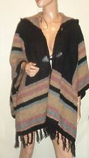 LOVE BY DESIGN BLACK COMBO HOODED BUCKLE KNIT FRINGED CARDIGAN SWEATER NWT OS