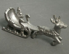 "Vintage Cast Aluminum Deer Figurine W/ Santa & Sleigh - Christmas - 5 1/2"" - 113"