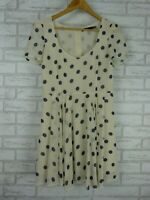 Sportsgirl Fit & flare dress Cream, blue polka dot print Sz 10