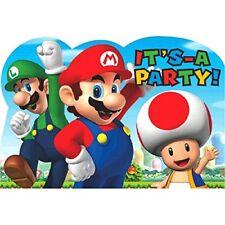 Super Mario Bros - invitaciones y sobres 8 unidades (amscan 491554)