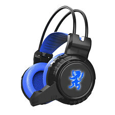 Blue Game Gaming 3.5mm Stereo LED Lighting Over-Ear Headphone Headset with Mic