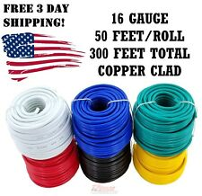 16 GAUGE 50 FOOT SPOOLS COPPER CLAD REMOTE POWER WIRE CABLE PRIMARY AUTO 6 PACK