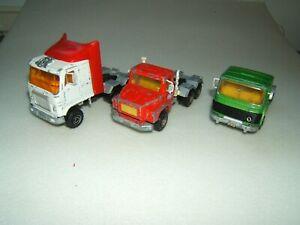 3 CAMIONS TRACTEUR  RENAULT  Camion U.S SCANIA 140S MAJORETTE 1/60è