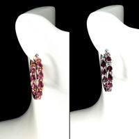 Unheated Pear Pink Tourmaline 6x4mm Natural 925 Sterling Silver Hoop Earrings