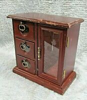 Wood 3 Drawer Glass Floral Etched Door Jewelry Box w Chain Wheel Mirror FREE S/H