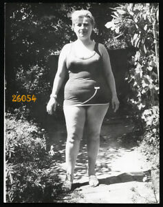 chubby woman smiling in swimsuit, Vintage Photograph, 1960'