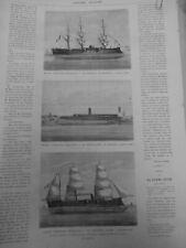1870 UI BATEAUX MARINE CUIRASSEE FRANCAISE MARENGO BELIER CORVETTE ALMA