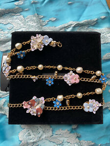 DOLCE & GABBANA Belt Gold Chain Crystal Butterfly Flower S / 80cm/3 RRP 2000+