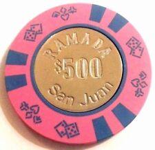 $500 RAMADA PINK BLUE Coin Casino Chip CONDADO SAN JUAN Puerto Rico Bud Jones
