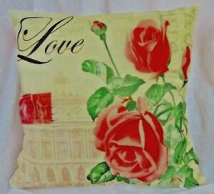 """NEW 18"""" X 18"""" TEAL BACKGROUND PILLOW COVER """"LOVE"""" ROSES With  Zipper closure"""