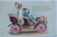 Geburtstag, Kinder, Auto, Blumen, 1914, Prägekarte ♥ (12274)