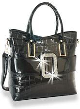 Trendy Black Ombre Buckled Handbag with Attachable Strap