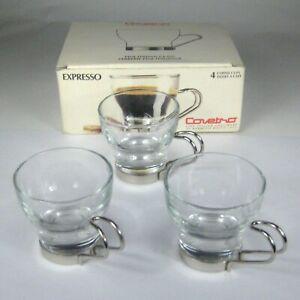 Set of 3 Bormioli Rocco Casa Covetro Espresso Coffee Cups Fine Italian Glass