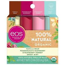 EOS 100% Natural USDA Certified Organic Shea Butter Lip Balm, 4 Pack