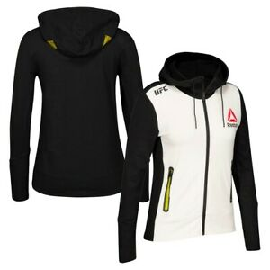 Reebok Official UFC League Fight Kit Womens Full Zip Walkout Hoodie Black Yellow