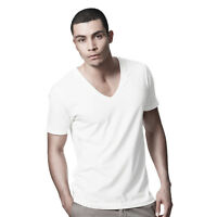 DANYEYI® Mens Plain Fitted Low Deep V Neck T-Shirt Top White Or Black S-XL