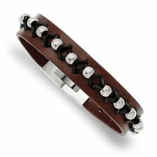 Polished Beads Bracelet Msrp $128 Chisel Stainless Steel Brown Leather with