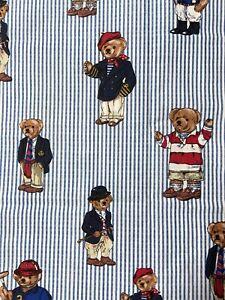 NEW Vtg Polo Ralph Lauren Teddy Bear Blue Stripe Twin Flat Sheet 100% Cotton