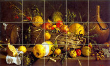20 x 12 Still Life Mural Tumbled Marble Fruits Apples Tile #332