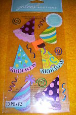 JOLEE'S BRIGHT PARTY HATS STICKERS, 13 PIECES, NEW