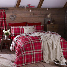 Catherine Lansfield Kelso Red King Bed Duvet Quilt Cover Set Gift