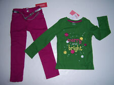 NWT Gymboree Merry & Bright Skinny Jeans Green Tee 4 4T