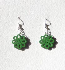 Silver Plated Drop Earrings hook Small Green Laser Cut Wood Flower