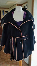 New Ladies Black Wool Mix Vintage Style Winter Caped Hooded Coat 14 by Rainbow