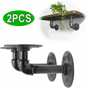 2 X Pipe Shelf Brackets Industrial Iron Rustic Wall Floating Shelves Supports UK