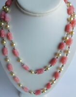 """Vintage Carved Pink Quartz Simulated Pearl Long Strand Necklace 54"""""""