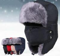 Men Winter Fur Aviator Bomber Hat Trooper Trapper Earflap Warm Ski Mask Cap DB