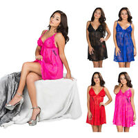 Women Chemise Ruffle Lace Babydoll Lingerie Bow Trim Sheer Sleepwear Robe +Thong