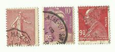 France postage stamps x 3, used, With Perforation shifts
